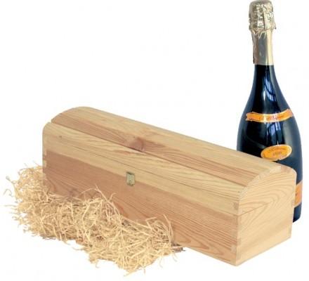 holzkiste truhe f r 1 flasche mit scharnier. Black Bedroom Furniture Sets. Home Design Ideas