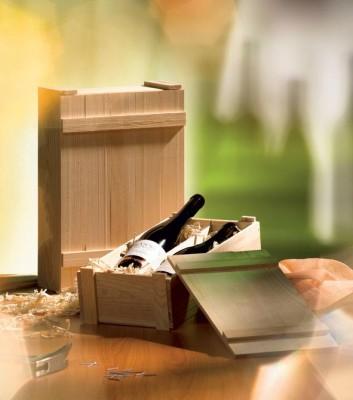 holzkiste natur f r 3 flaschen mit lose beigef gtem deckel und leisten. Black Bedroom Furniture Sets. Home Design Ideas