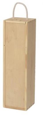 Holzkiste mit Schiebedeckel für 1 Flasche Wein/Sekt mit Hanfseilgriff