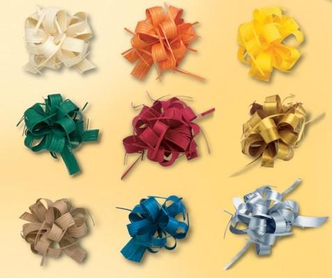 Geschenkschleife Ziehschleife gelb, 40m ergibt ca. 40 Stück