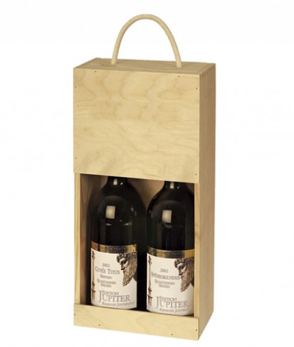 holzkiste offen f r 2 flaschen. Black Bedroom Furniture Sets. Home Design Ideas