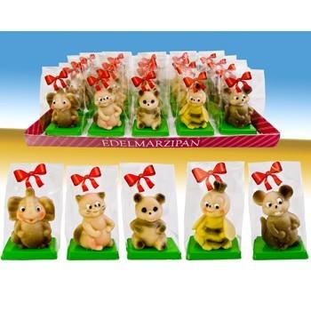 Marzipanfiguren Tiere in Präsenttüte 5-fach sortiert VE 20